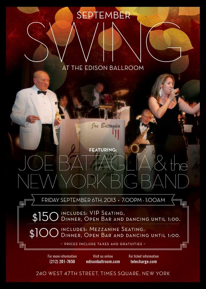 Joe Battaglia is back Swingin' at the Edison Ballroom