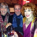 Charles Busch (right) with Jim Dale and Julia Schafler