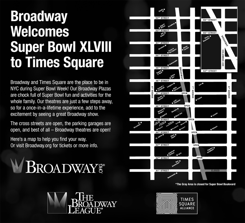 Broadway Welcomes Super Bowl XLVII to Times Square
