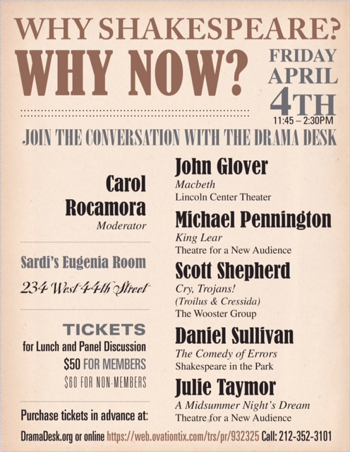 You're Invited! Drama Desk Spring Luncheon Focuses on Shakespeare with Celebrity Panel