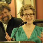 Oskar Eustis with Lisa Kron (Fun Home-Outstanding New Off-Bway Musical)