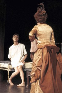 """Rock star turned actor David Bowie is seen rehearsing a scene in the Broadway show """"The Elephant Man"""" with co-star Patricia Elliott, Sept. 17, 1980. Bowie plays the title role. (AP Photo/Marty Lederhandler)"""