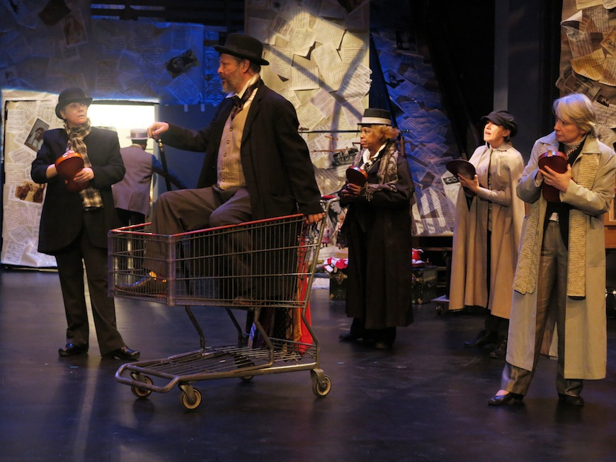 """""""The New World Symphony: Dvorák in America,"""" written and directed by Vit Horejs, performed by Czechoslovak-American Marionette Theatre, La Mama Theatre March 8, 2016. L-R: Michelle Beshaw, Ben Wyatts (as Dvorak in cart), Valois Mickins, Theresa Linnihan, Deborah Beshaw-Farrel. Photo by Remy.S ."""