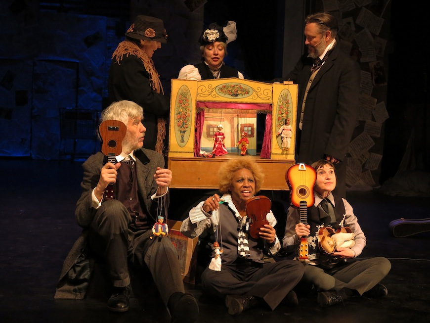 """""""The New World Symphony: Dvorák in America,"""" written and directed by Vit Horejs, performed by Czechoslovak-American Marionette Theatre, La Mama Theatre March 8, 2016. L-R: Michelle Beshaw, Vit Horejs, Deborah Beshaw-Farrell, Valois Mickins, Ben Watts (as Dvorak), Theresa Linnihan. Photo by Remy.S ."""