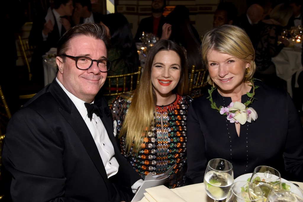"""""""NEW YORK, NY - APRIL 14: (L-R) Actor Nathan Lane, Drew Barrymore and Martha Stewart attend ASPCA 19th Annual Bergh Ball honoring Drew Barrymore, hosted by Nathan Lane wiith music by Mark Ronson at the Plaza Hotel on April 14, 2016 in New York City. (Photo by Jamie McCarthy/Getty Images for ASPCA)"""""""