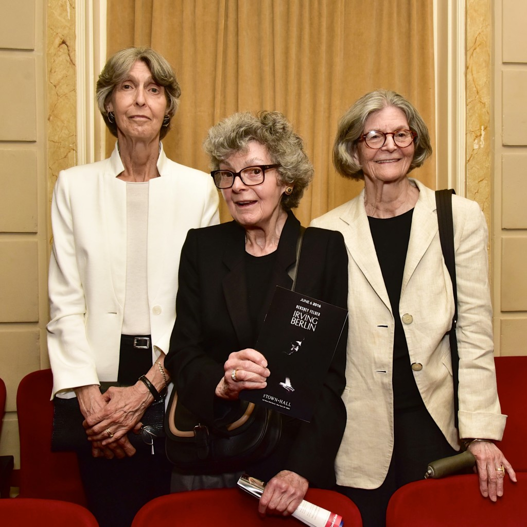 NEW YORK, NY - JUNE 06: Elizabeth Peters, Linda Louise Emmet and Mary Ellin Berlin Barret attend the Hershey Felder As Irving Berlin At The Town Hall, NYC - June 6 on June 6, 2016 in New York City. (Photo by Eugene Gologursky/Getty Images for Hersehey Felder)