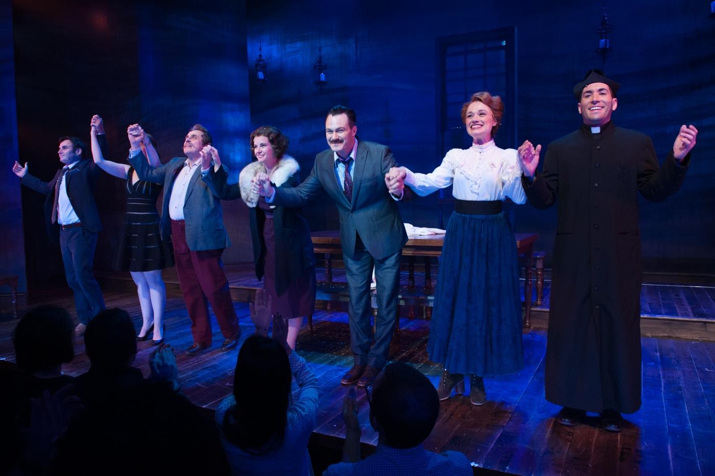 (l. to r.) Gary Troy, Victoria Huston-Elem, Michael McCormick, Whitney Bashor, Matt Bogart, Lianne Marie Dobbs, Zachary Prince  at the curtain call of HIMSELF AND NORA at the Minetta Lane Theatre, June 6, 2016. Photo by Jason Woodruff.