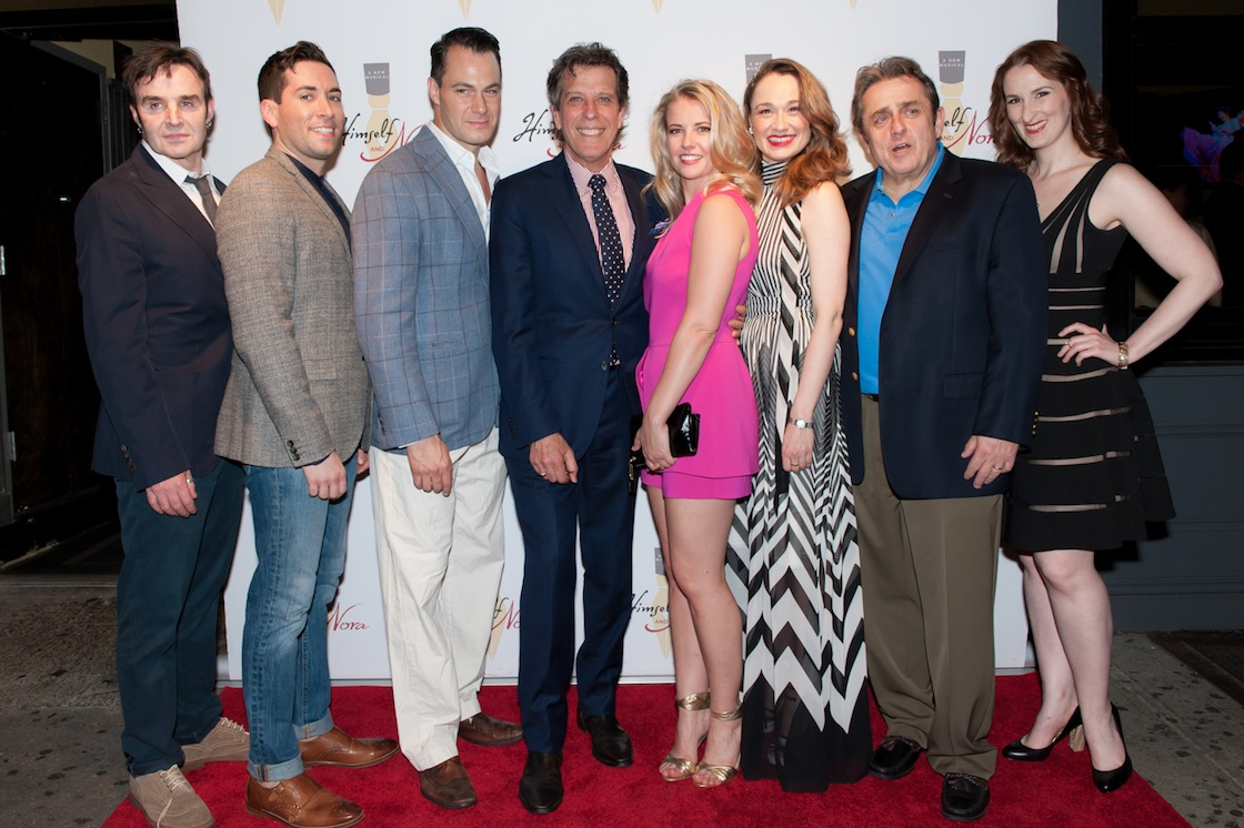 The cast (l. to r..) Gary Troy, Zachary Prince, Matt Bogart, Jonathan Brielle, Whitney Bashor, Lianne Marie Dobbs, Michael McCormick, Victoria Huston-Elem at the opening of HIMSELF AND NORA at the Minetta Lane Theatre in NYC, June 6th 2016. Photo by Jason Woodruff.