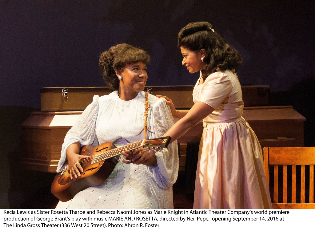 Kecia Lewis as Sister Rosetta Tharpe and Rebecca Naomi Jones as Marie Knight in Atlantic Theater Company's world premiere production of George Brant's play with music MARIE AND ROSETTA, directed by Neil Pepe, opening September 14, 2016 at The Linda Gross Theater (336 West 20 Street). Photo: Ahron R. Foster.
