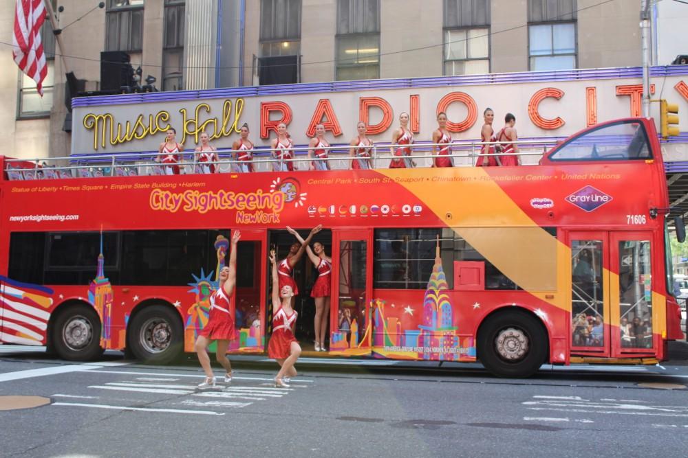 Radio City Rockettes Stop Traffic on Sixth Ave