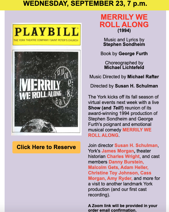 York Theatre Virtual Fall Events